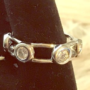 Silver Ring 6 CZ  1/2 carat size Stones size 7